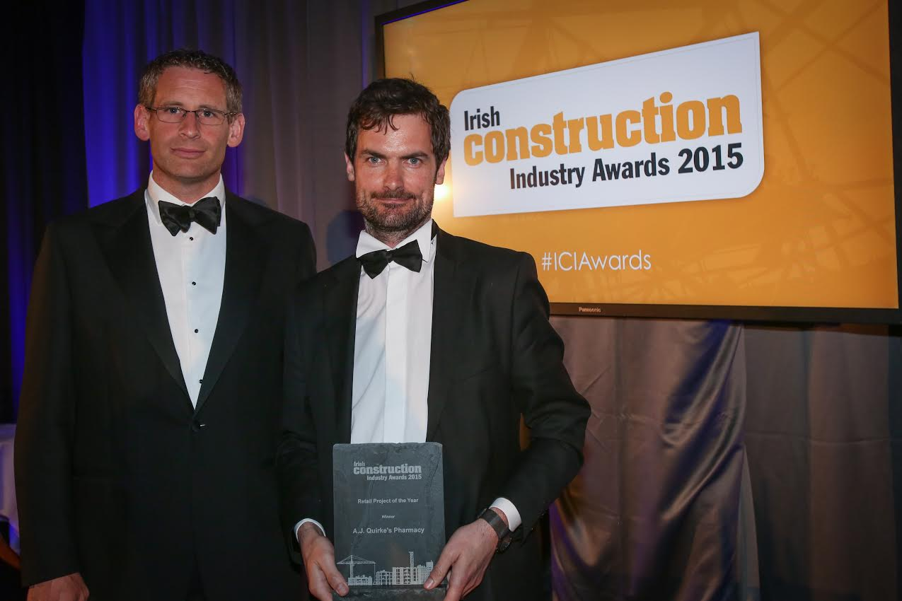 Paulo McNally recieves irish construction award from Irish Contsruction Industry awards